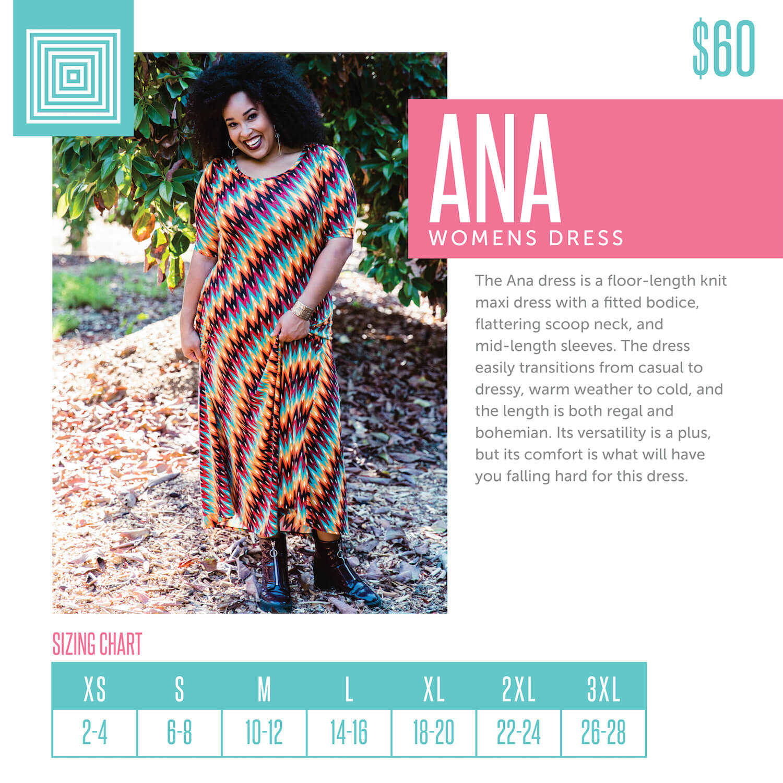 Lularoe Ana Dress Size Chart