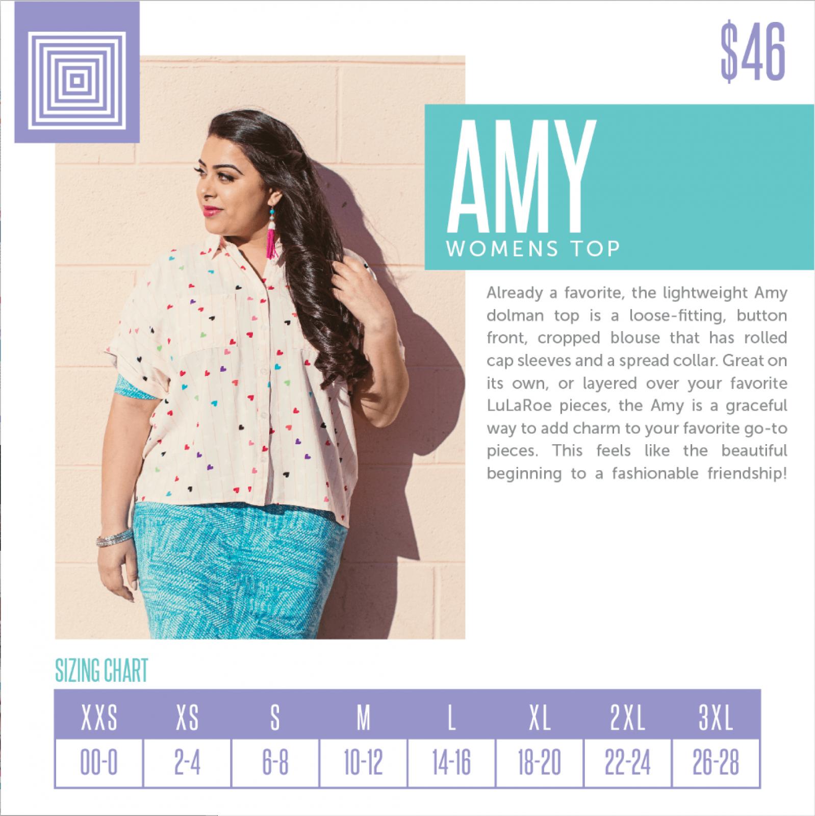 Lularoe Amy Top Size Chart