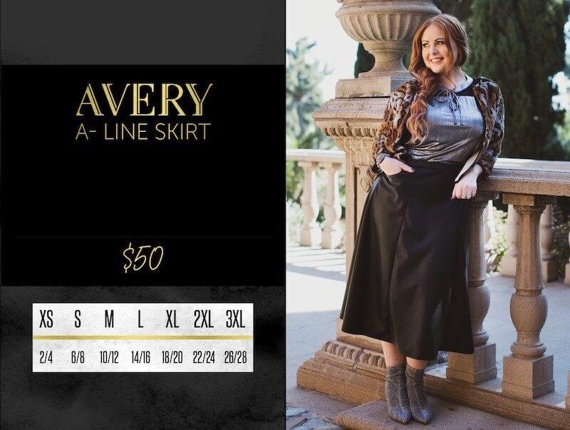 Lularoe Avery A-Line Skirt Size Chart