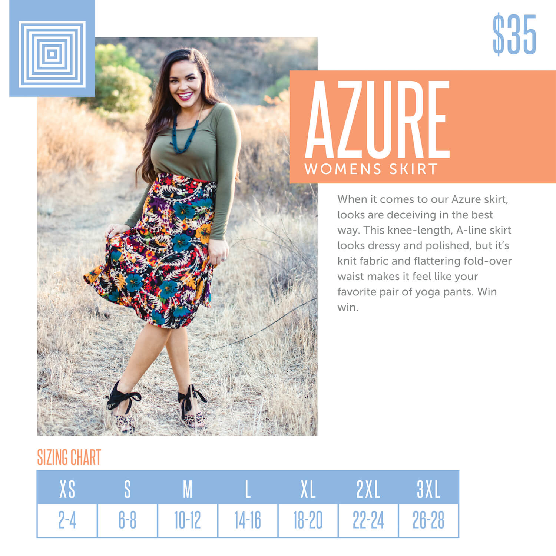 Lularoe Azure Skirt Size Chart