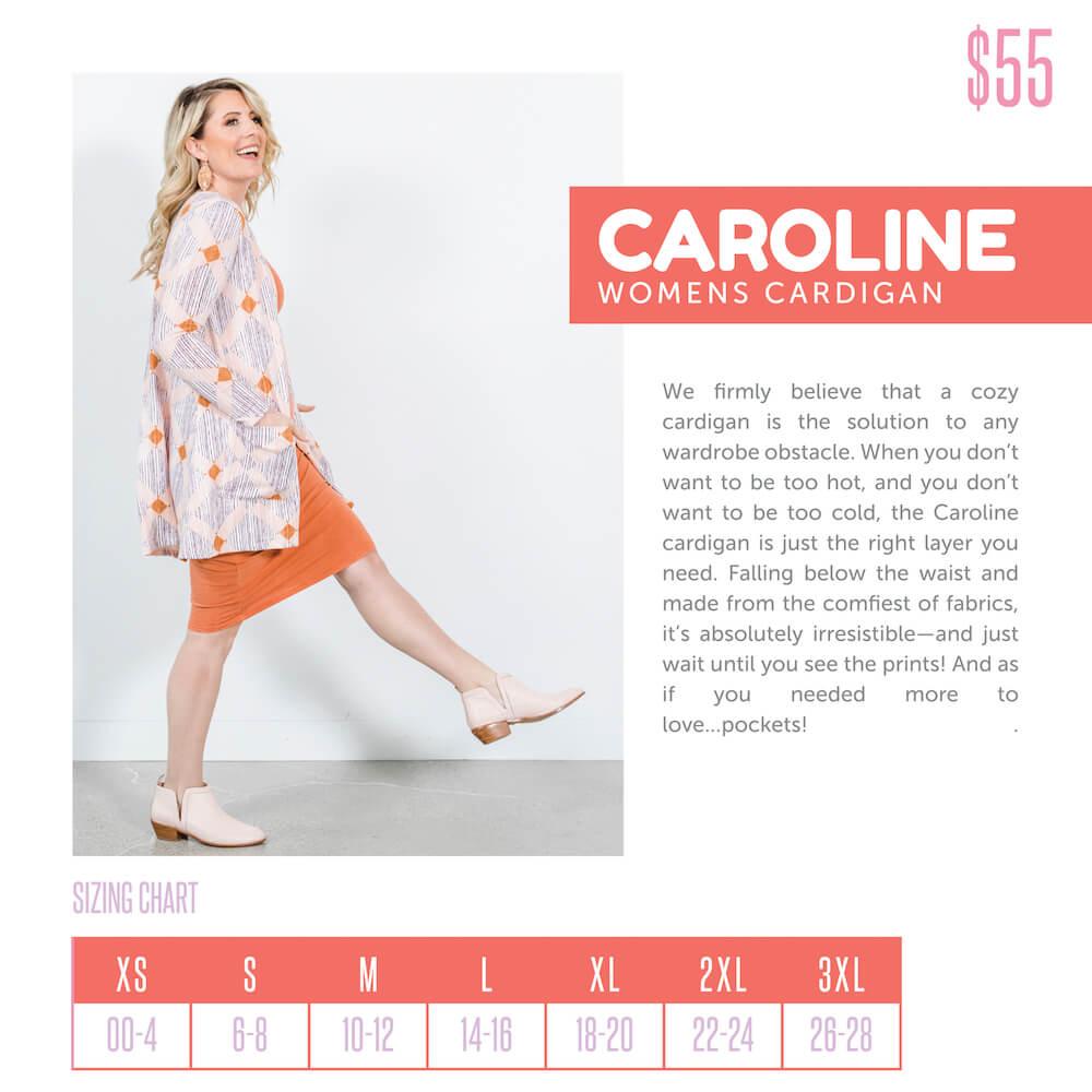 Lularoe Caroline Cardigan Size Chart
