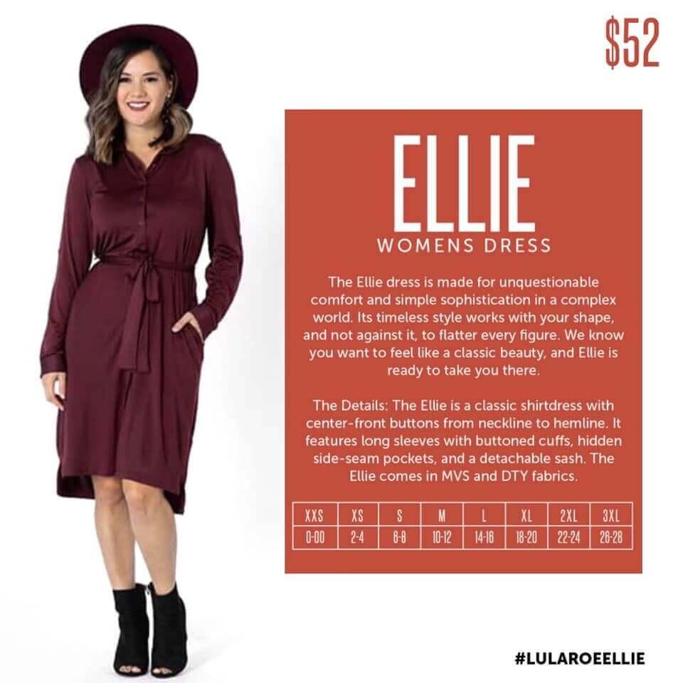 Lularoe Ellie Dress Size Chart