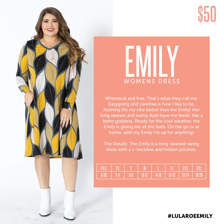 Lularoe Emily Dress Size Chart