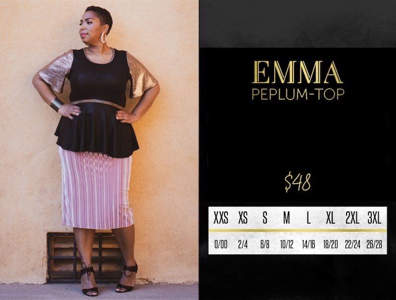 Lularoe Emma Peplum Top Size Chart