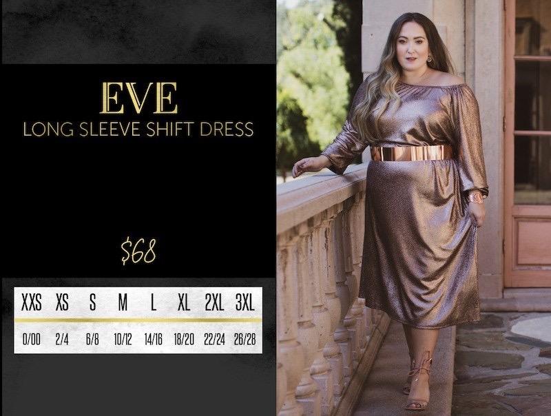 Lularoe Eve Dress Size Chart