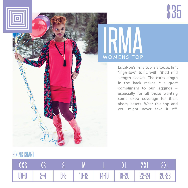 Lularoe Irma Top Size Chart