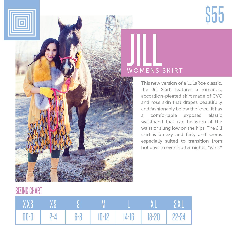 Lularoe Jill Skirt Size Chart