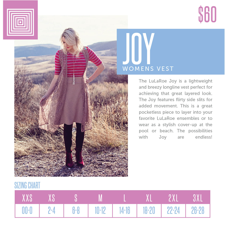 Lularoe Joy Vest Size Chart