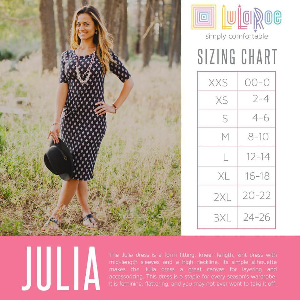 Lularoe Julia Dress Size Chart