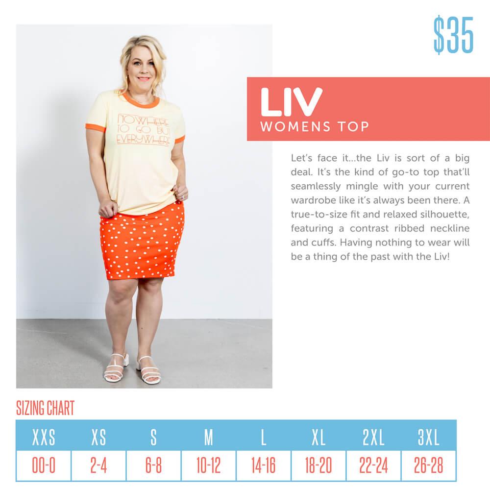 Lularoe Liv Tee Size Chart