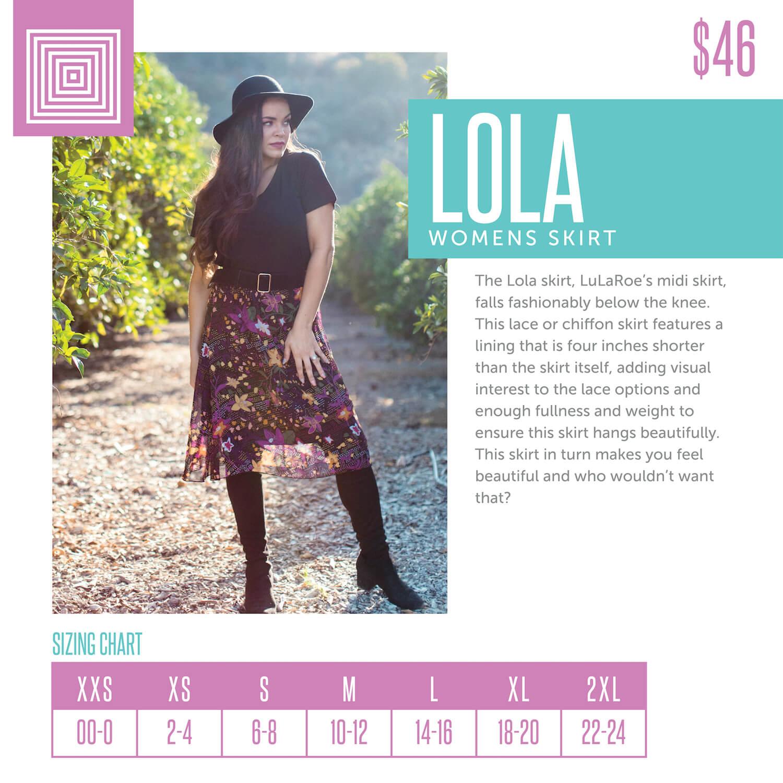 Lularoe Lola Skirt Size Chart
