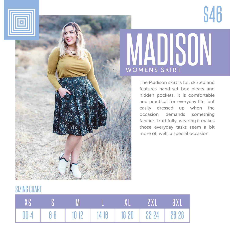 Lularoe Madison Skirt Size Chart