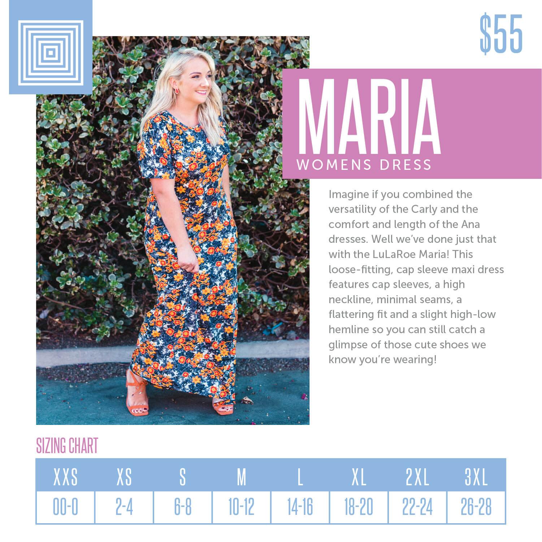 Lularoe Maria Dress Size Chart