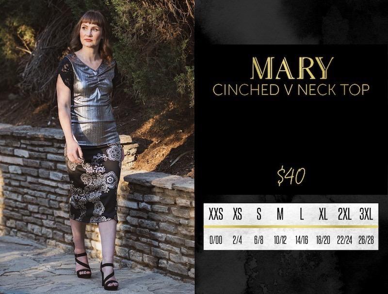 Lularoe Mary V-Neck Top Size Chart