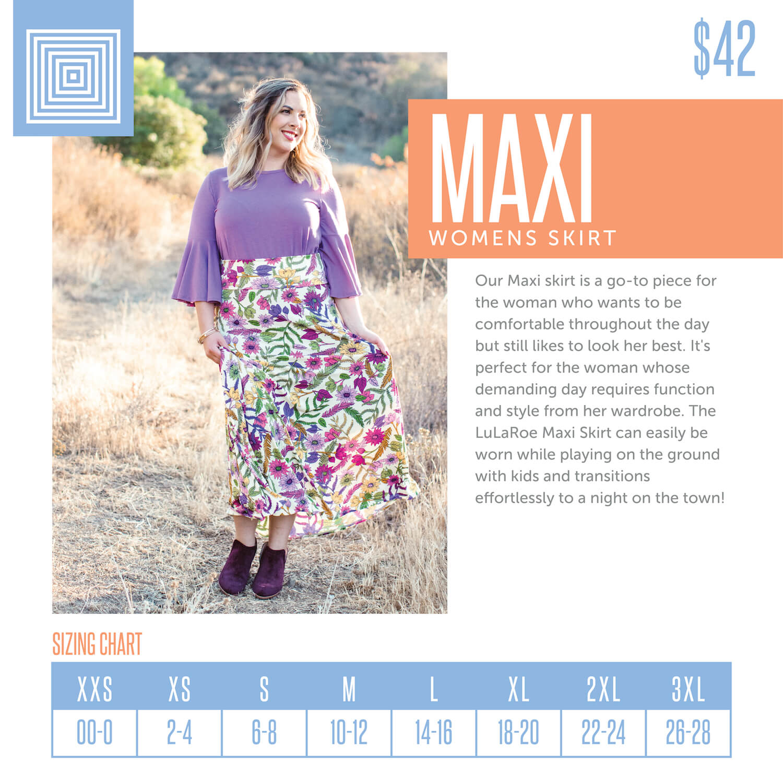 Lularoe Maxi Skirt Size Chart