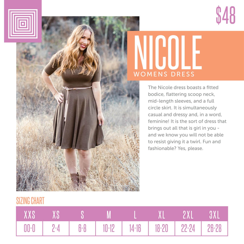Lularoe Nicole Dress Size Chart