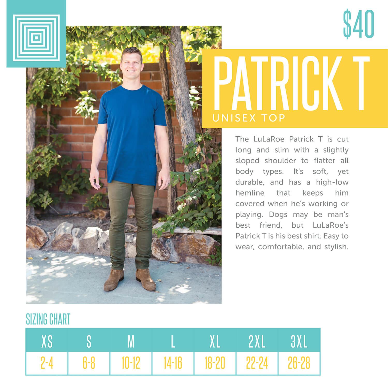Lularoe Patrick Tee Size Chart