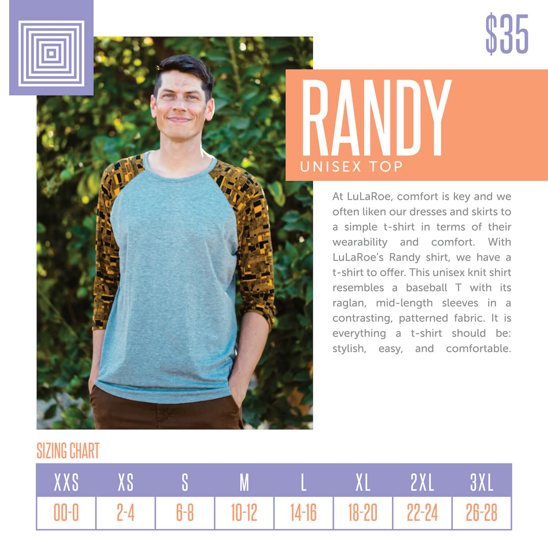 Lularoe Randy Tee Size Chart