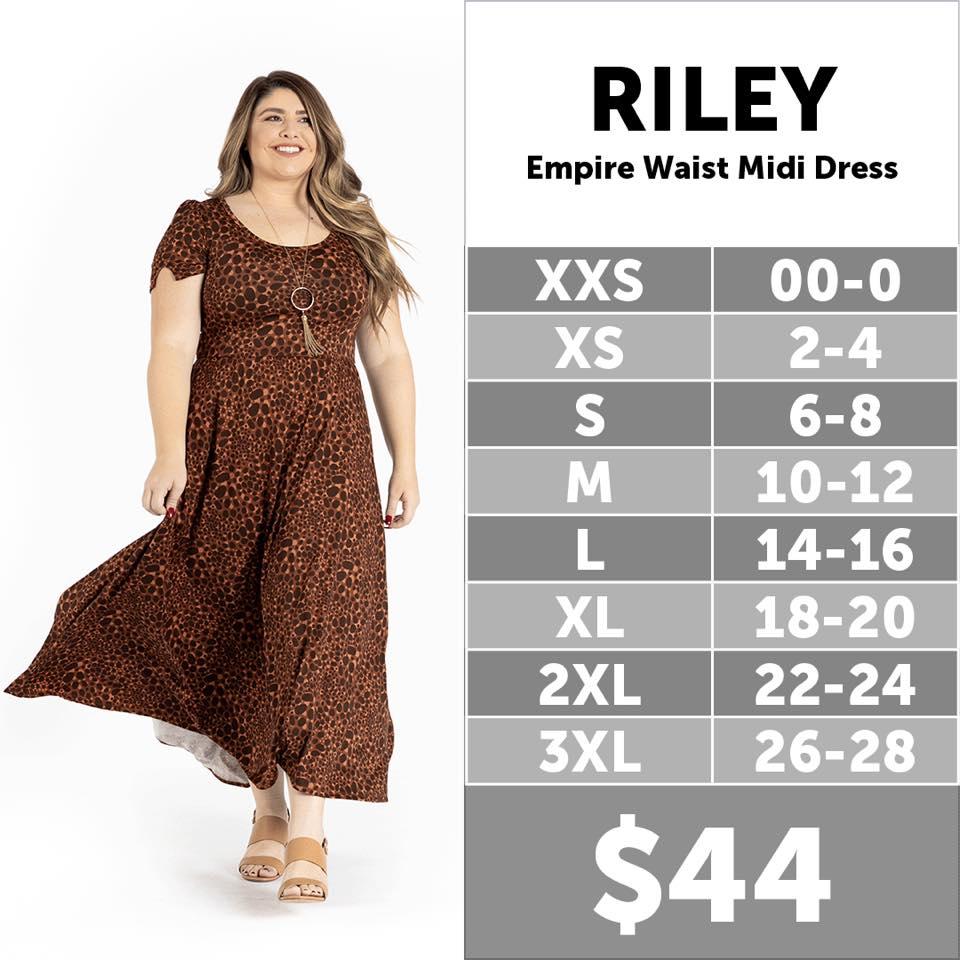 Lularoe Riley Midi Dress Size Chart