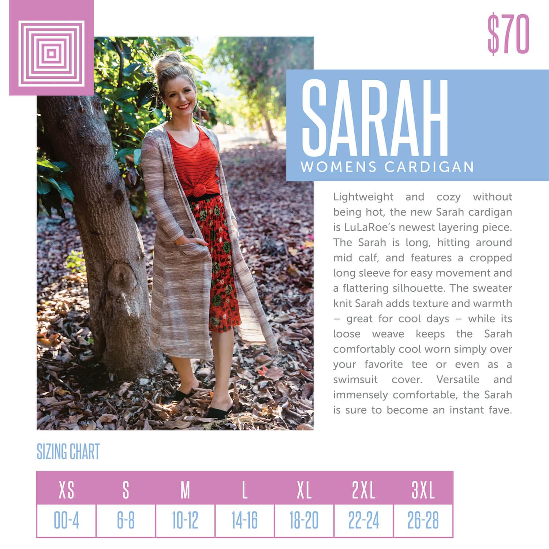Lularoe Sarah Cardigan Size Chart