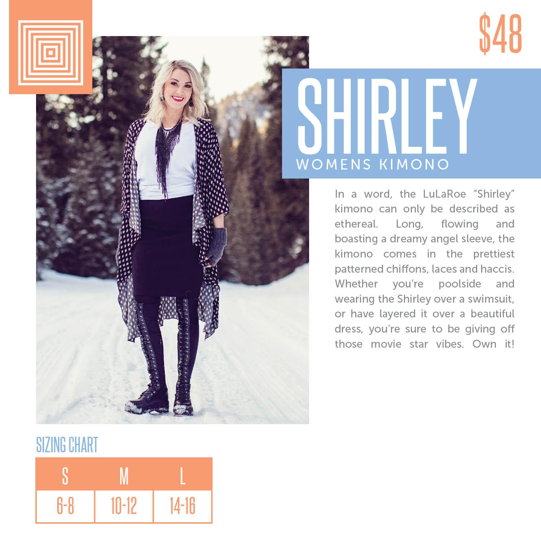 Lularoe Shirley Kimono Size Chart