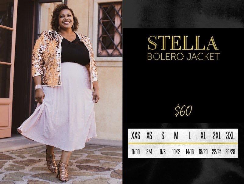 Lularoe Stella Bolero Jacket Size Chart
