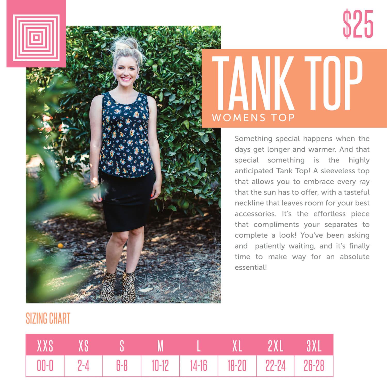 Lularoe Tank Top Size Chart
