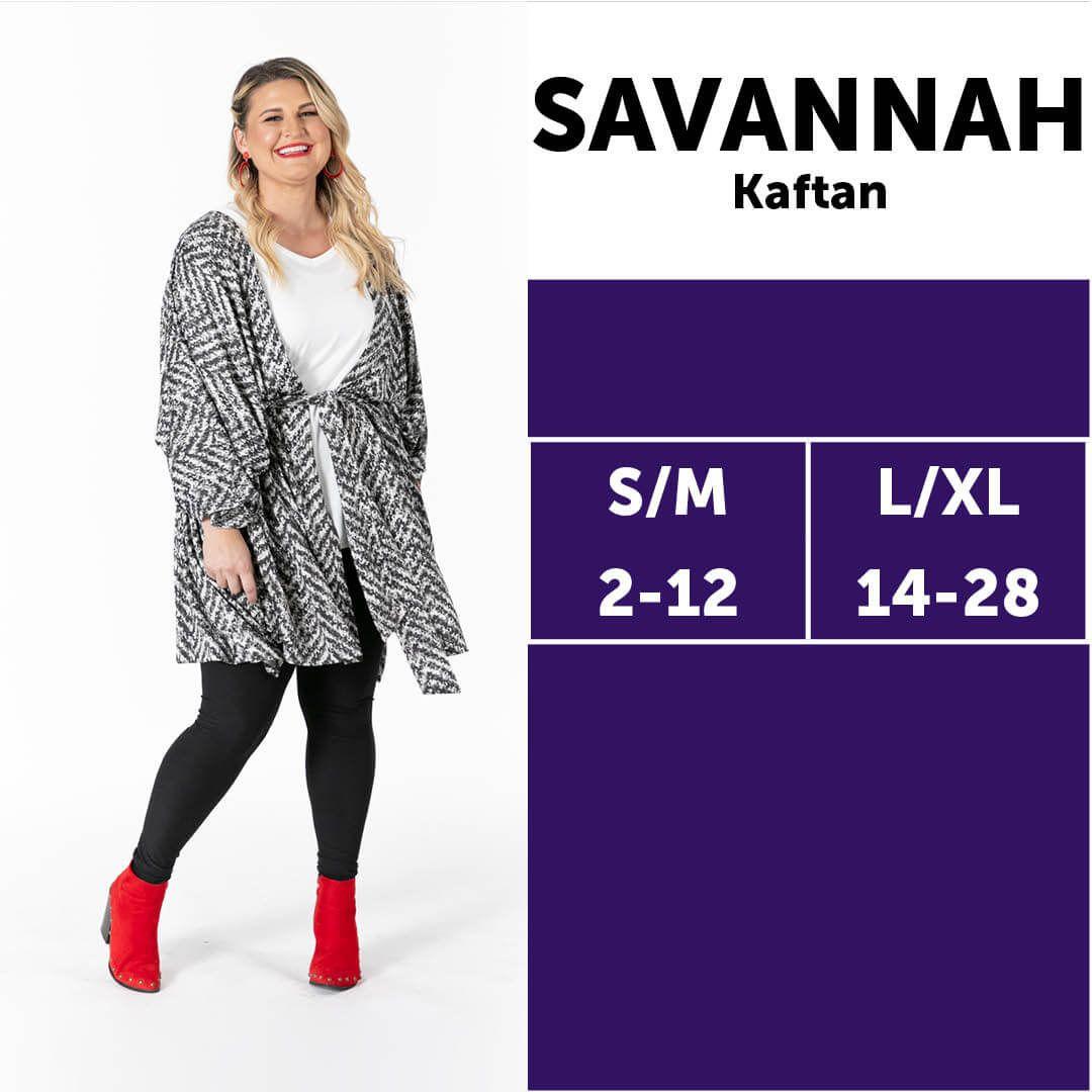 Lularoe Savannah Kaftan Size Chart