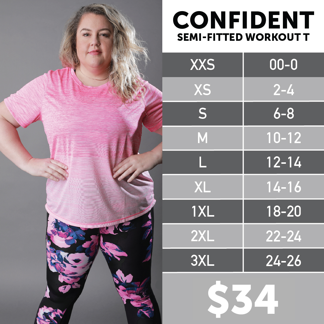 Lularoe Confident Workout Tee Size Chart