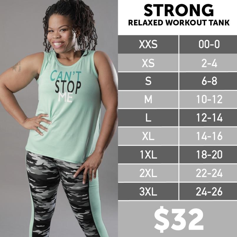 Lularoe Strong Workout Tank Size Chart