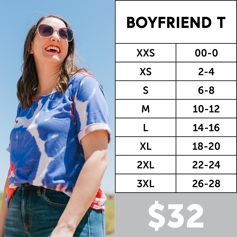 Lularoe Boyfriend Tee Size Chart