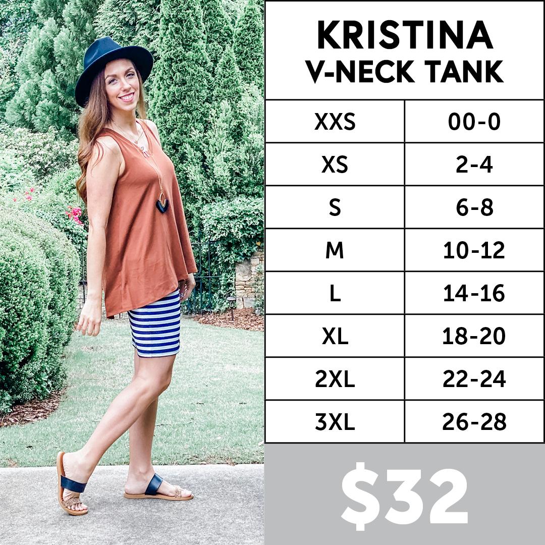Lularoe Kristina V-Neck Tank Size Chart
