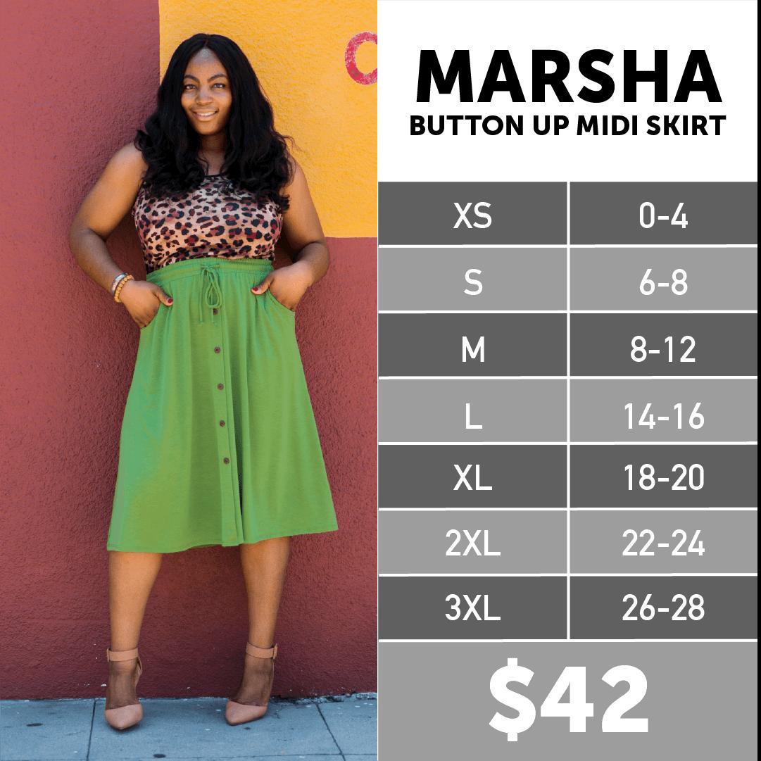Lularoe Marsha Button-up Midi Skirt Size Chart