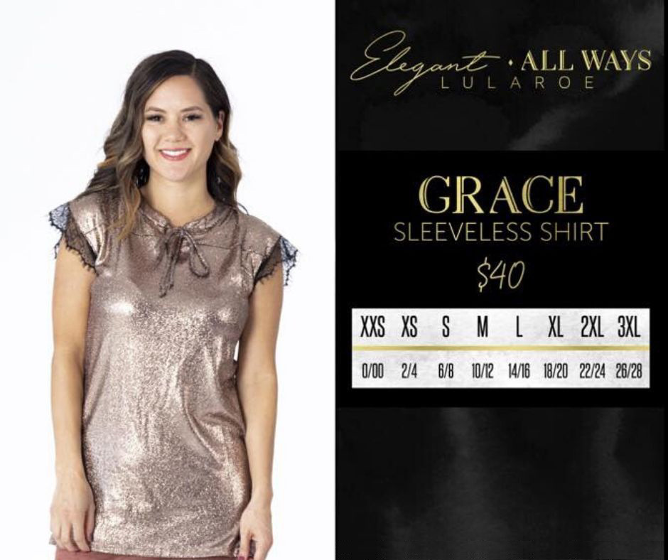Lularoe Grace Sleeveless Shirt Size Chart