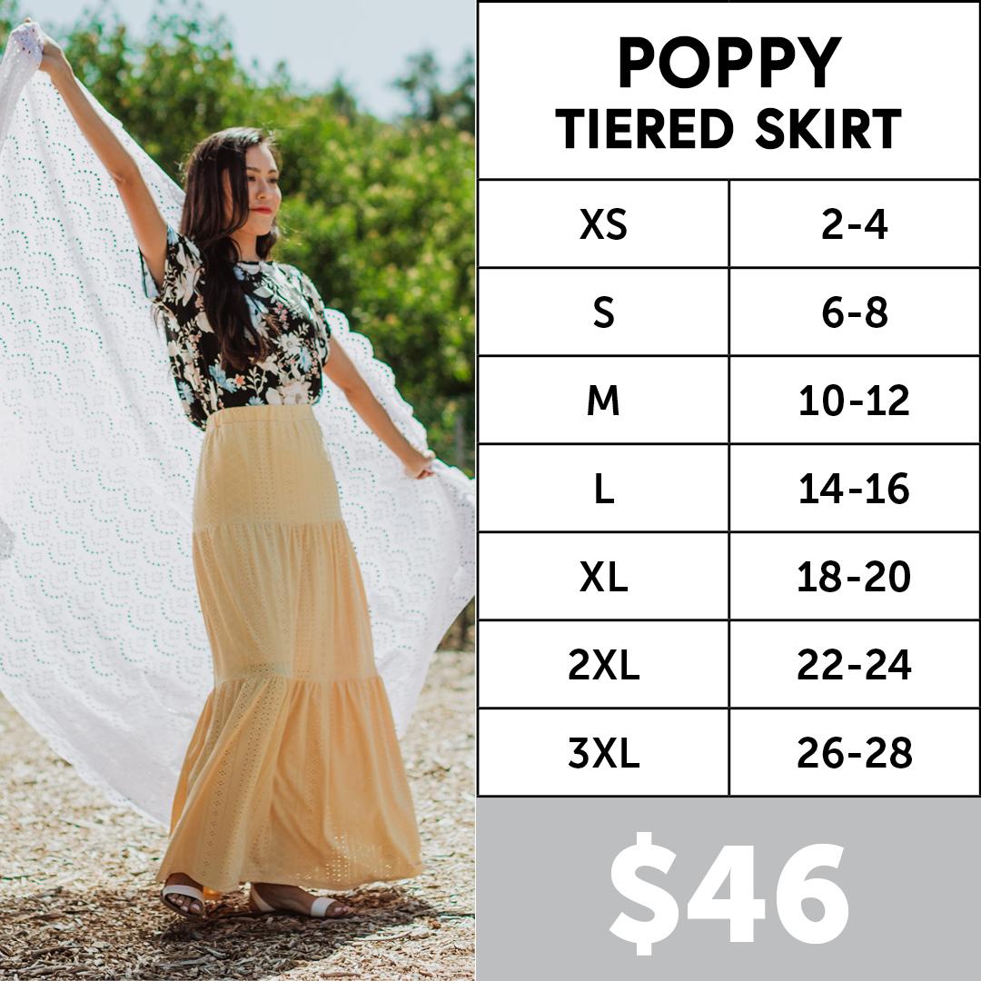 Lularoe Poppy Tiered Maxi Skirt Size Chart