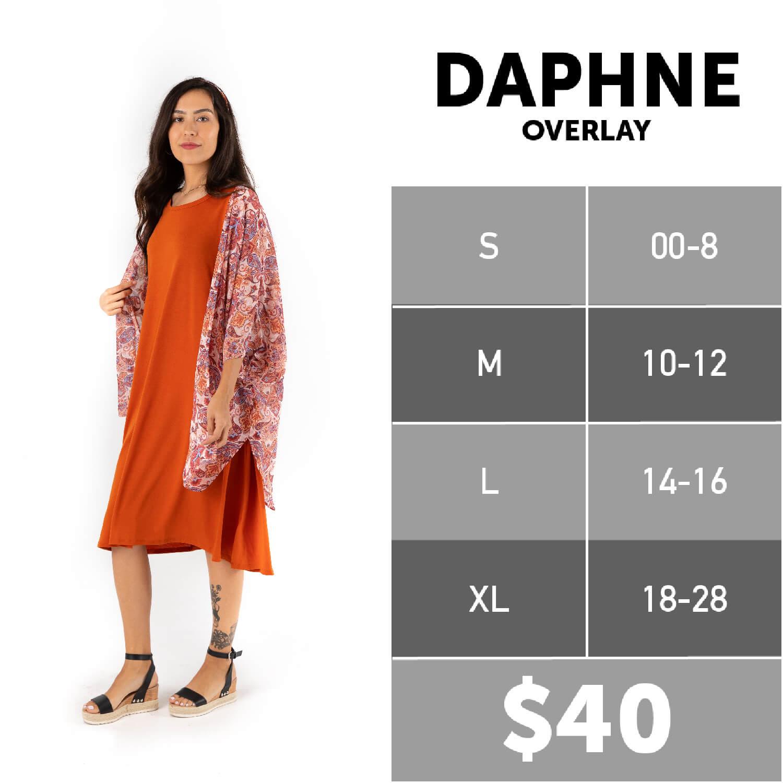 Lularoe Daphne Overlay Size Chart