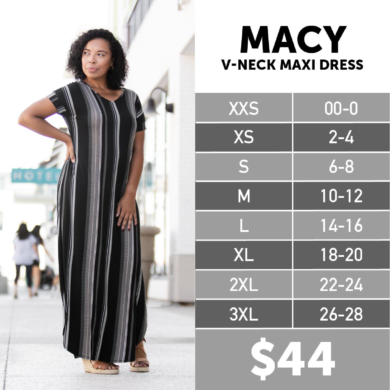 Lularoe Macy Dress Size Chart