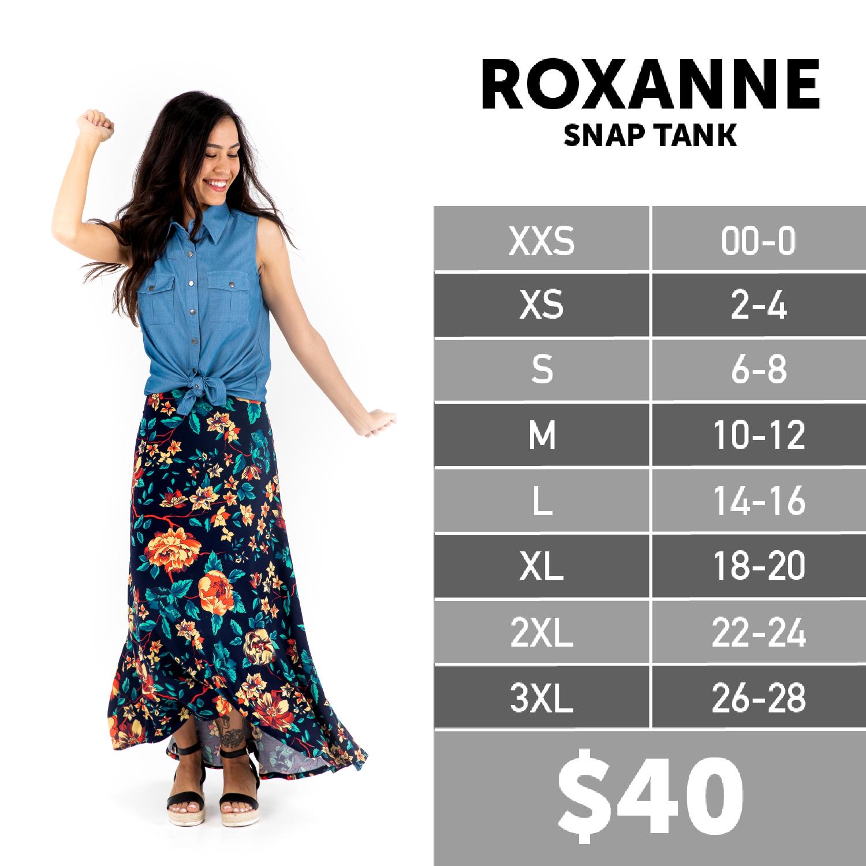 Lularoe Roxanne Snap Tank Size Chart