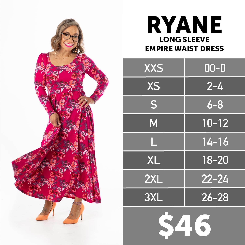 Lularoe Ryane Dress Size Chart