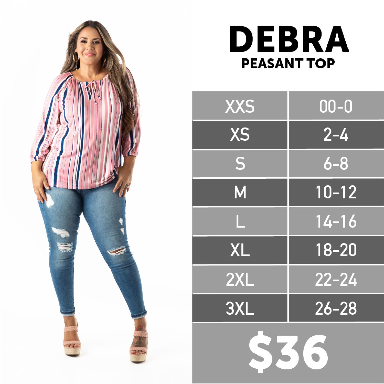 Lularoe Debra Peasant Top Size Chart