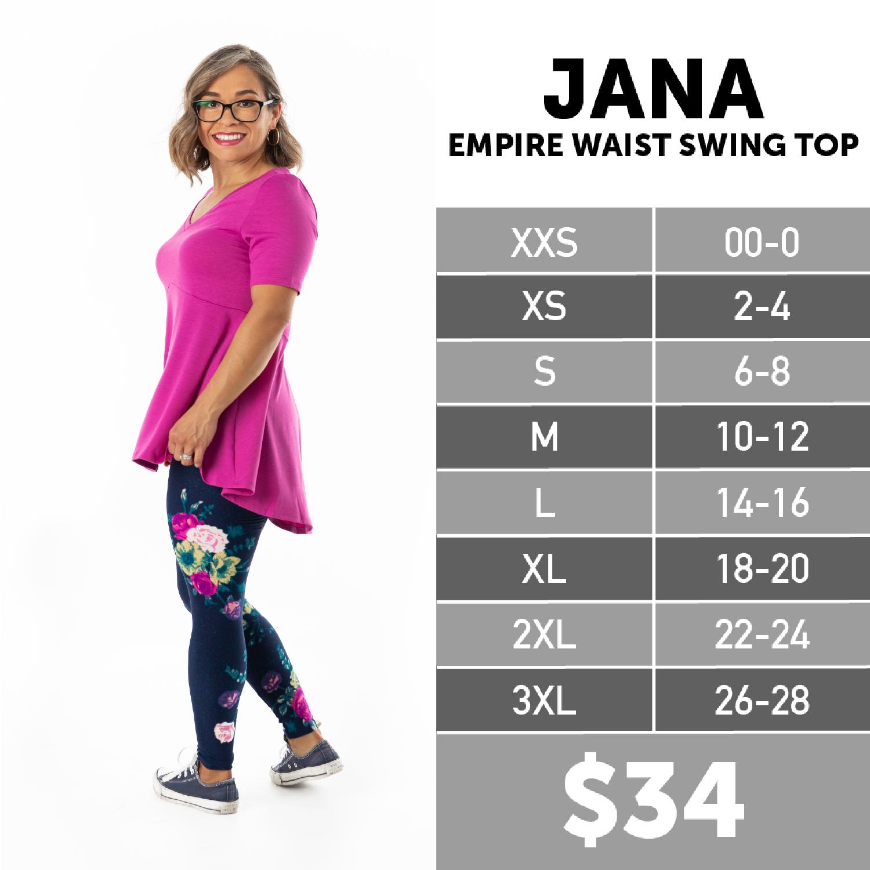 Lularoe Jana Swing Top Size Chart