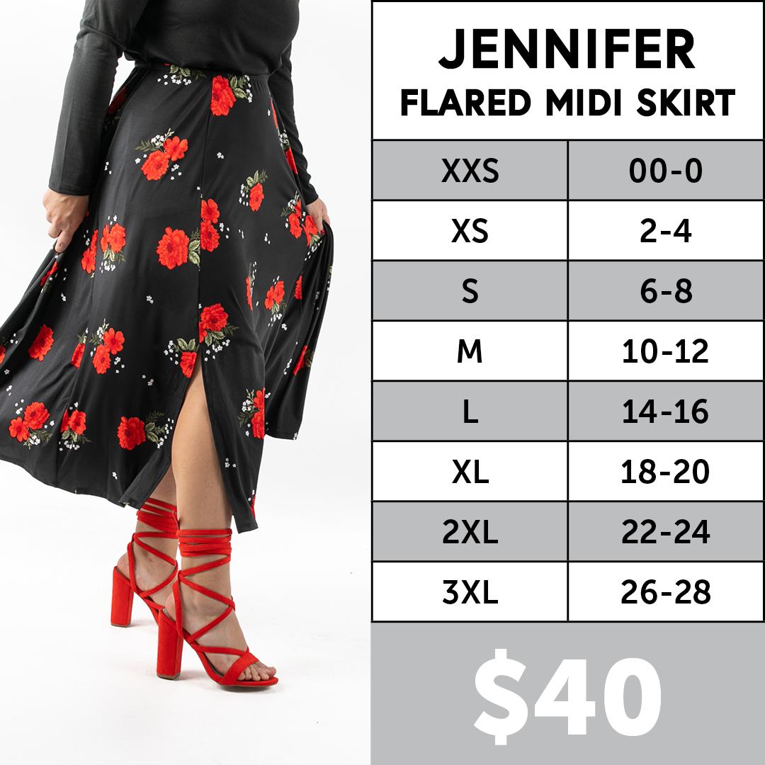 Lularoe Jennifer Midi Skirt Size Chart